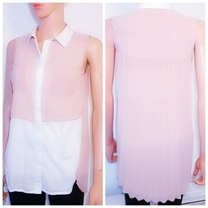 New High Low Blouse Pleated Back Collar Small